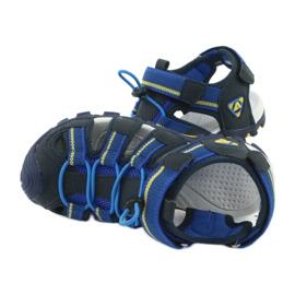 American Club Buty dziecięce sandałki z wkładką piankową American DR01/20 granatowe niebieskie żółte 4
