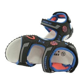 American Club Sandałki wkładka skórzana American HL20/20 czarne niebieskie pomarańczowe 4