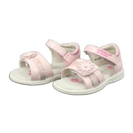 Sandałki dziewczęce kwiatki American Club XD12/20 różowe 2