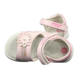 Sandałki dziewczęce kwiatki American Club XD12/20 różowe 5
