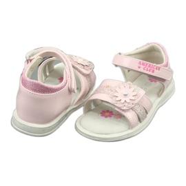 Sandałki dziewczęce kwiatki American Club XD12/20 różowe 3