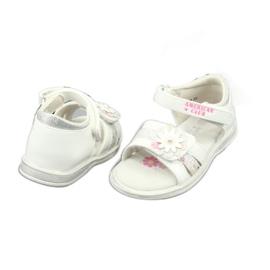 Sandałki dziewczęce kwiatki American Club XD12/20 białe szare 4