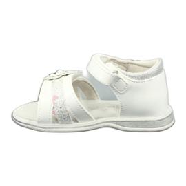 Sandałki dziewczęce kwiatki American Club XD12/20 białe szare 2