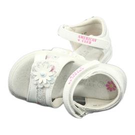 Sandałki dziewczęce kwiatki American Club XD12/20 białe szare 3