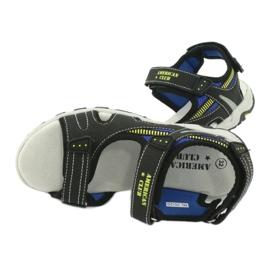 Sandałki chłopięce sportowe American Club RL30/20 czarne niebieskie żółte 4