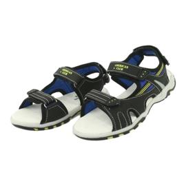 Sandałki chłopięce sportowe American Club RL30/20 czarne niebieskie żółte 2