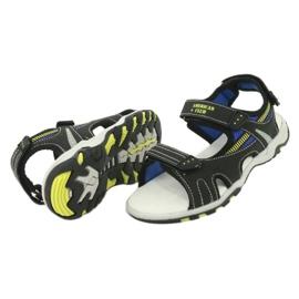 Sandałki chłopięce sportowe American Club RL30/20 czarne niebieskie żółte 3