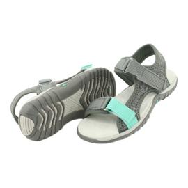 Sandałki z wkładką skórzaną American Club RL24/20 szare zielone 3