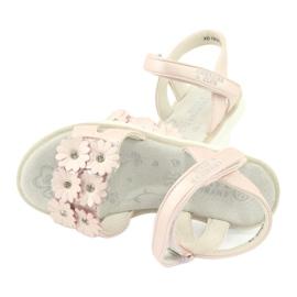 Sandałki perliste cekiny American Club XD10/20 różowe 4