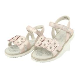 Sandałki perliste cekiny American Club XD10/20 różowe 2