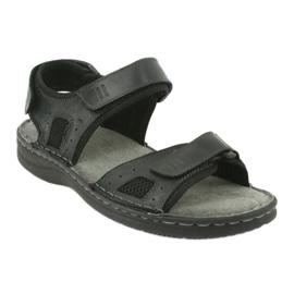 Komfortowe sandały sportowe skórzane American Club CY13/20 czarne 1