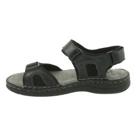 Komfortowe sandały sportowe skórzane American Club CY13/20 czarne 2