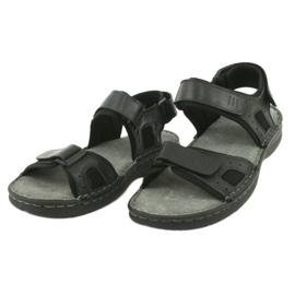 Komfortowe sandały sportowe skórzane American Club CY13/20 czarne 3