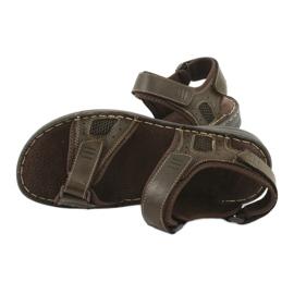 Komfortowe sandały sportowe skórzane American Club CY13/20 brązowe 5