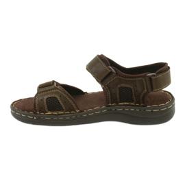Komfortowe sandały sportowe skórzane American Club CY13/20 brązowe 2