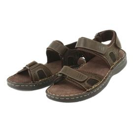 Komfortowe sandały sportowe skórzane American Club CY13/20 brązowe 3