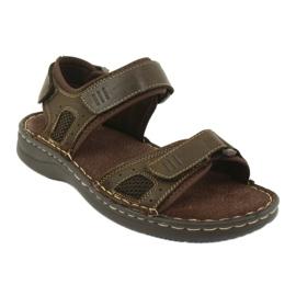 Komfortowe sandały sportowe skórzane American Club CY13/20 brązowe 1