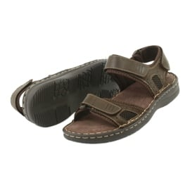 Komfortowe sandały sportowe skórzane American Club CY13/20 brązowe 4