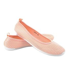 Różowe balerinki z koronki LA07P 3