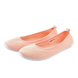 Różowe balerinki z koronki LA07P 4