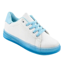 Białe sneakersy trampki H-33 niebieskie 1