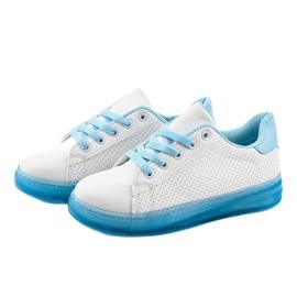Białe sneakersy trampki H-33 niebieskie 2