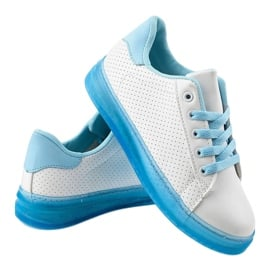 Białe sneakersy trampki H-33 niebieskie 3