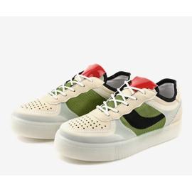 Zielone obuwie sportowe sneakersy LA51P wielokolorowe 3