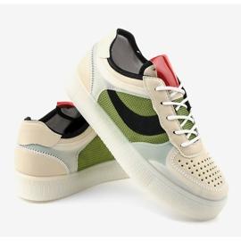 Zielone obuwie sportowe sneakersy LA51P wielokolorowe 4