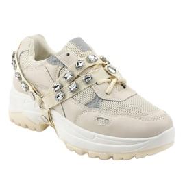 Beżowe modne obuwie sportowe A88-68 beżowy 1
