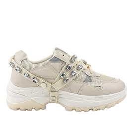 Beżowe modne obuwie sportowe A88-68 beżowy 2