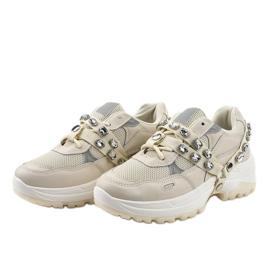 Beżowe modne obuwie sportowe A88-68 beżowy 3