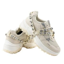 Beżowe modne obuwie sportowe A88-68 beżowy 4