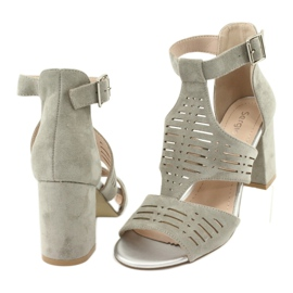 Sandały z cholewką zamszowe  Sergio Leone SK903 szare 4