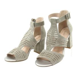 Sandały z cholewką zamszowe  Sergio Leone SK903 szare 3