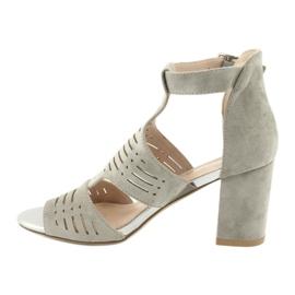 Sandały z cholewką zamszowe  Sergio Leone SK903 szare 2