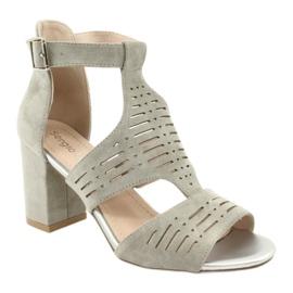 Sandały z cholewką zamszowe  Sergio Leone SK903 szare 1