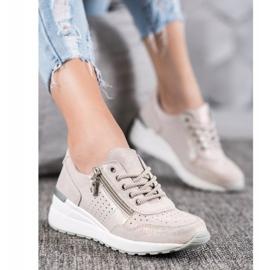 Skórzane Sneakersy Z Suwakiem VINCEZA brązowe 4