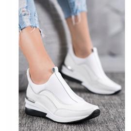 Wsuwane Buty Ze Skóry VINCEZA białe 4