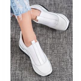 Wsuwane Buty Ze Skóry VINCEZA białe 5