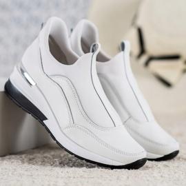 Wsuwane Buty Ze Skóry VINCEZA białe 3