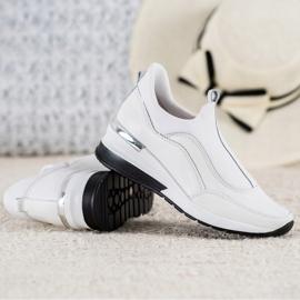 Wsuwane Buty Ze Skóry VINCEZA białe 1