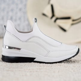 Wsuwane Buty Ze Skóry VINCEZA białe 2