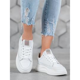 SHELOVET Trampki Na Platformie Fashion białe 1