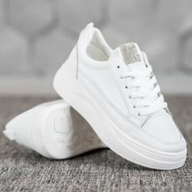 SHELOVET Trampki Na Platformie Fashion białe 4