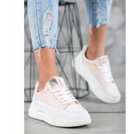 SHELOVET Trampki Na Platformie Fashion białe różowe 2