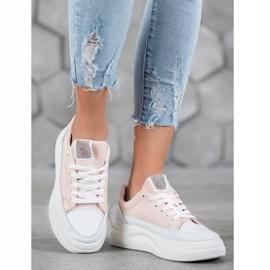 SHELOVET Trampki Na Platformie Fashion białe różowe 1