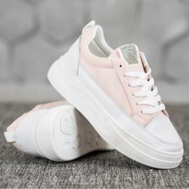 SHELOVET Trampki Na Platformie Fashion białe różowe 3