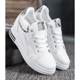 Lovery Sneakersy Na Koturnie białe 4