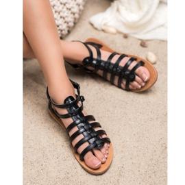SHELOVET Czarne Sandały Rzymianki 2